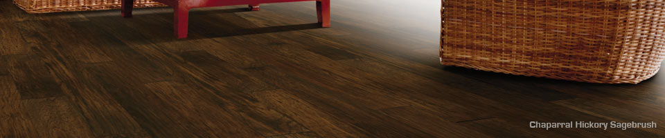 Chaparral Hickory Sagebrush hardwood engineered wood floors by Hallmark Floors.