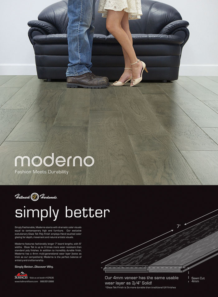 A new wood flooring product under Hallmark Hardwoods by Hallmark Floors called Moderno