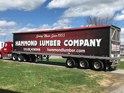 Hammond Lumber truck at trade show in augusta maine featuring Hallmark Floors