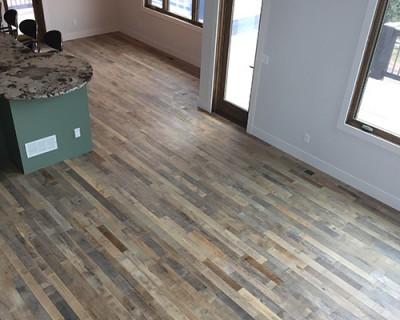 Organic Solid Tulsi reclaimed wood look install - Bring Real Reclaimed Wood Look Into Your Home