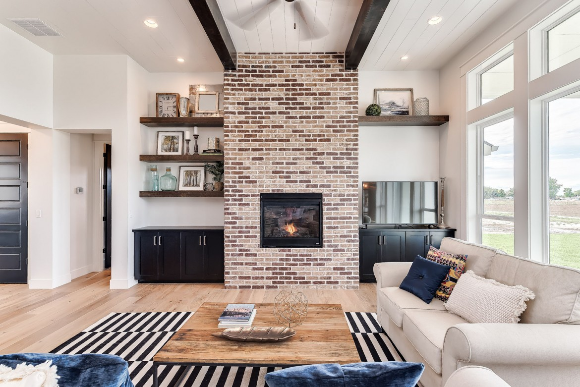 Modern Industrial Living Room And Brick Fire Place