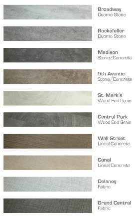 Times Square Color Chart Luxury Vinyl by Hallmark Floors