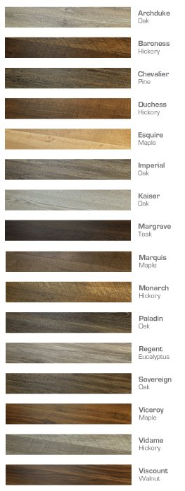 Courtier Premium Vinyl Plank Flooring color chart full