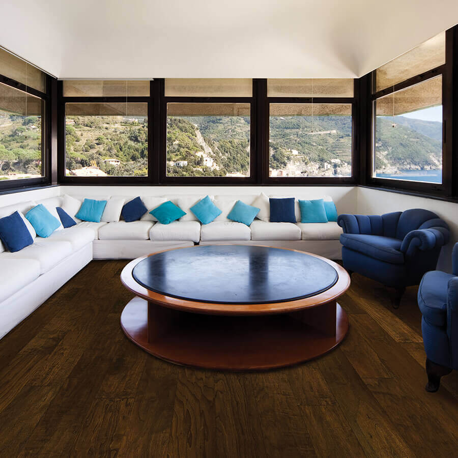 hardwood living room. Chaparral Saddle Walnut Roomscene Hardwood Collection by Hallmark Floors