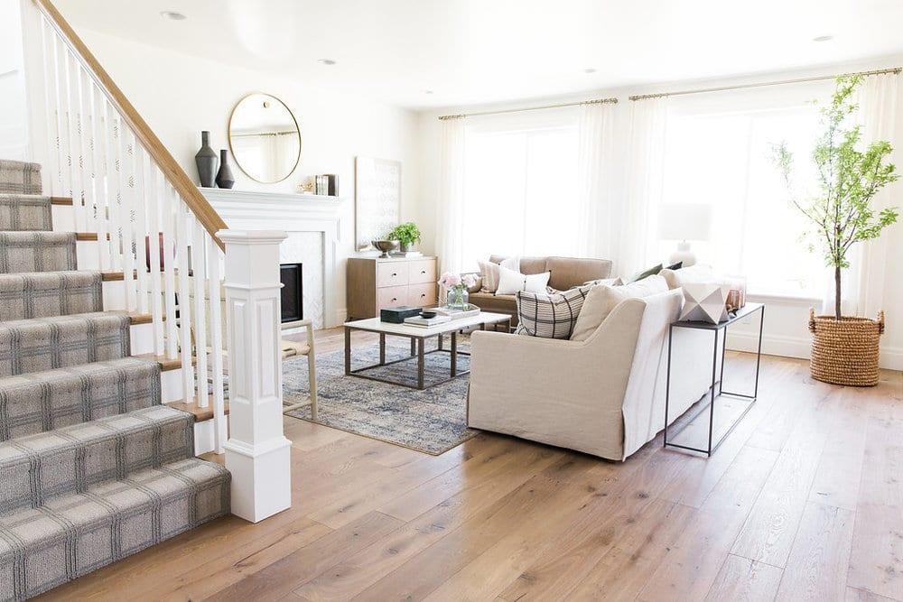 Living room view with Alta Vista engineered wood floors.