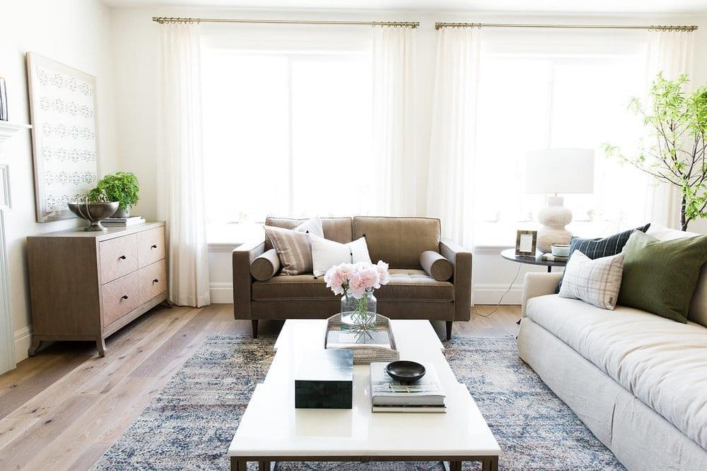 Living room with engineered wood floors