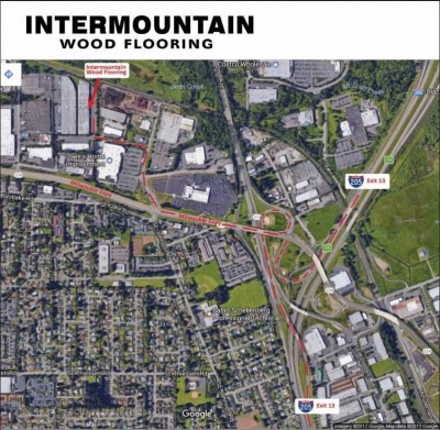 Map to Intermountain Wood Products Warehouse