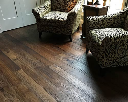print pattern chairs and installed engineered hickory hardwood by hallmark