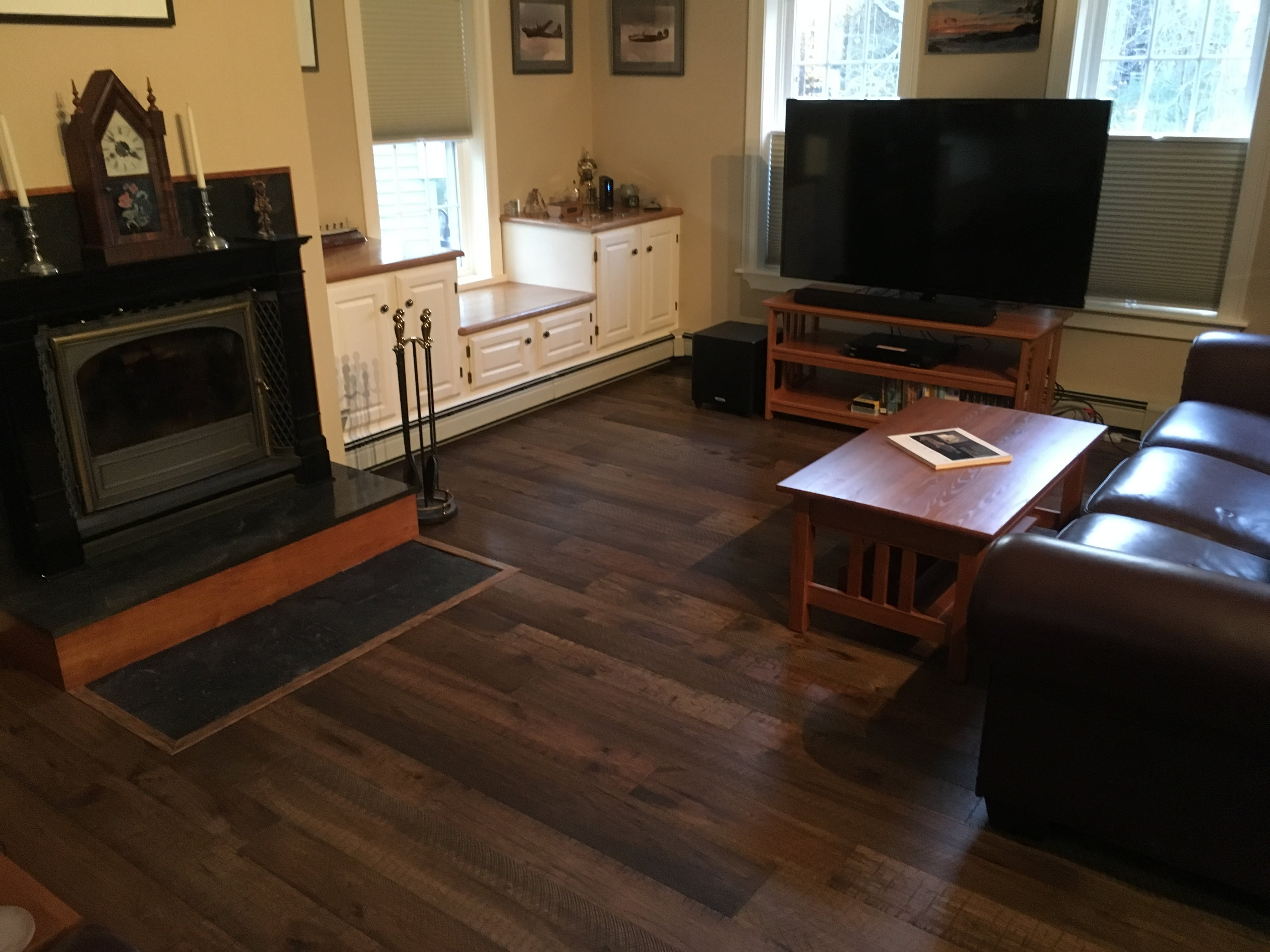 Organic Engineered 567 Oolong Hickory Living Room Installation Limerick ME