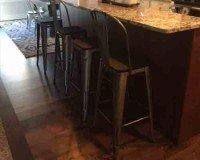 Kitchen Island Flooring Installation using Monterey Cabana Flooring