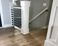 Organic 567 Engineered Chai White Oak Hallway with Railing