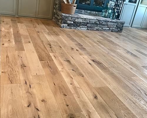 Organic 567 Engineered Chai White Oak Living Room with Fireplace Slater IA