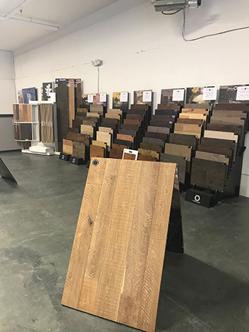 Skips custom flooring in canadaigua hardwood display at showroom
