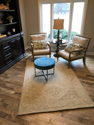 Cassia Maple, organic wood flooring, installed in a living room in a home in Omaha, NE. Organic wood floors by Hallmark Floors Inc.