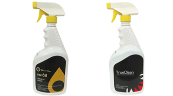 Our maintenance products. NuOil® floor cleaner is for NuOil finished floors and TrueClean floor cleaner is for wood, rigid vinyl & LVT floors.