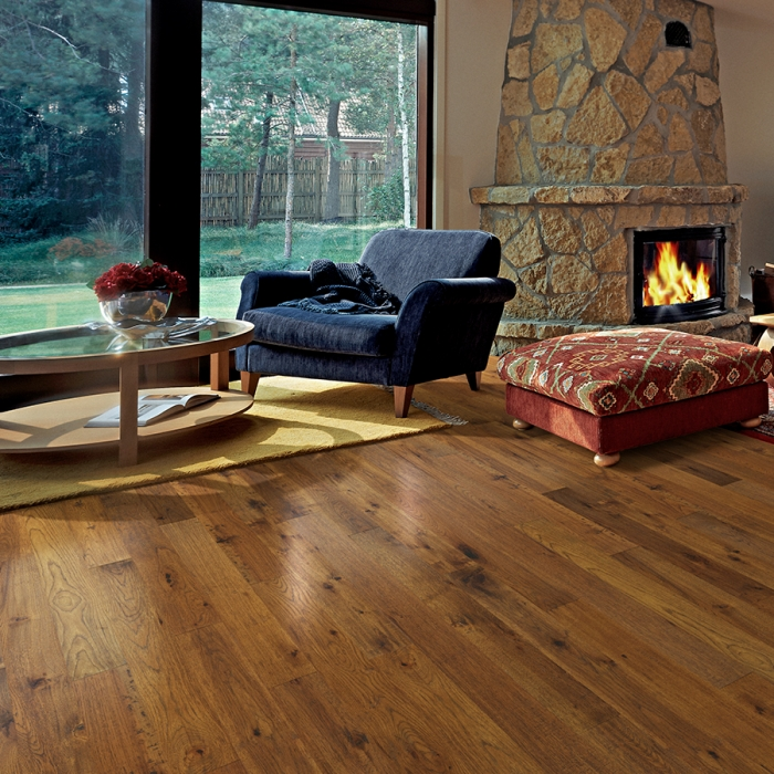 Product Crestline Solid Stratton Hickory living room by Hallmark Floors