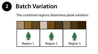 Batch Variation Part 2 of Wildly Beautiful Color Variation Region and Batch Variation Chart illustrates the natural color variation that occurs with trees from different regions.