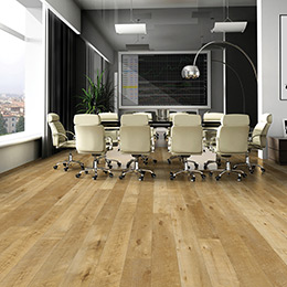 Product Esquire Maple Wood-like waterproof commercial grade flooring by Hallmark Floors. Ez-Loc waterproof rigid flooring installed in an office.