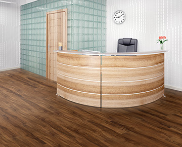 The floors are Intrepid Maple from the Polaris waterproof commercial flooring collection.
