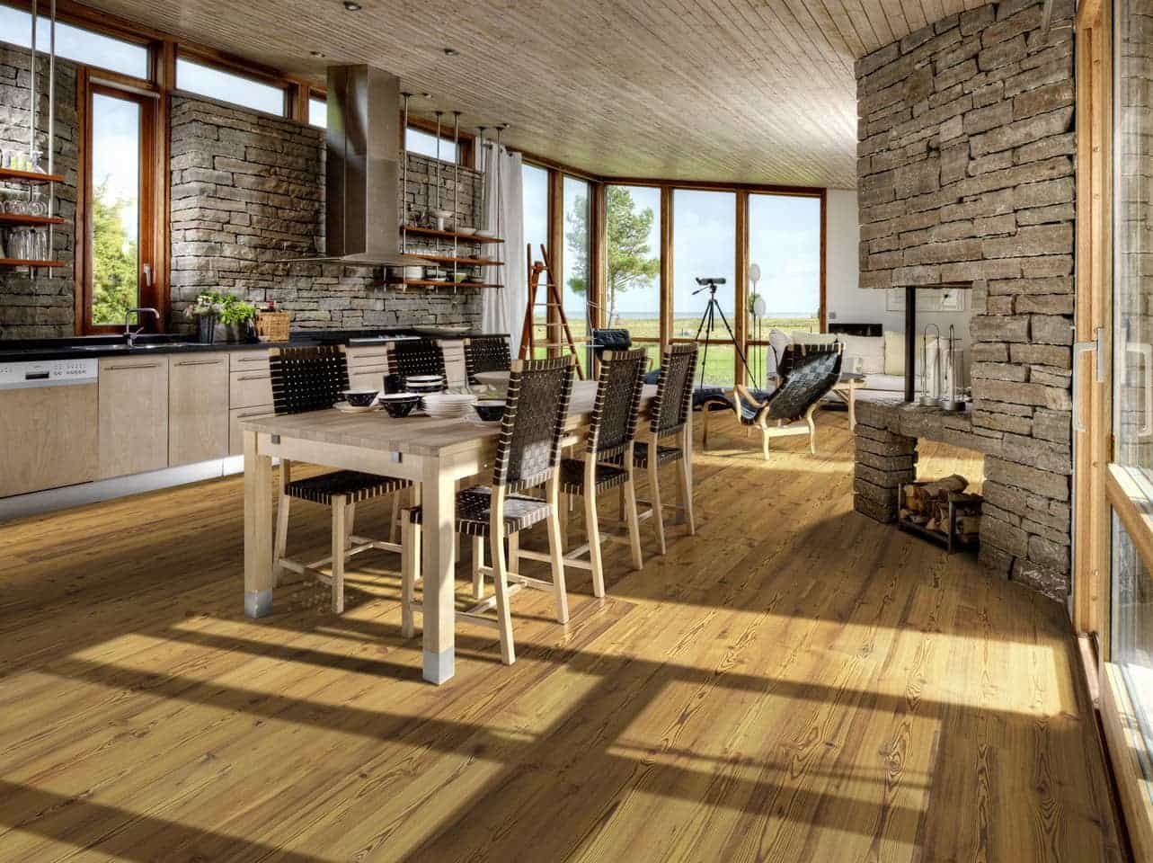 Product Amber Pine from the True Collection by Hallmark Floors. In the True collection of hardwood engineered floors, the color goes all the way through to the core.