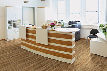 Flooring is Rubra, Elm, 12 Mil waterproof commercial grade flooring from the 12 Mil vinyl collection by Hallmark Floors. This commercial grade vinyl floor collection is a glue down waterproof floor.