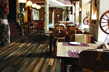 Product in the photo is Tulsi, form the Organic solid hardwood flooring. Beautifullt reclaimed look of the Organic commercial hardwood flooring.