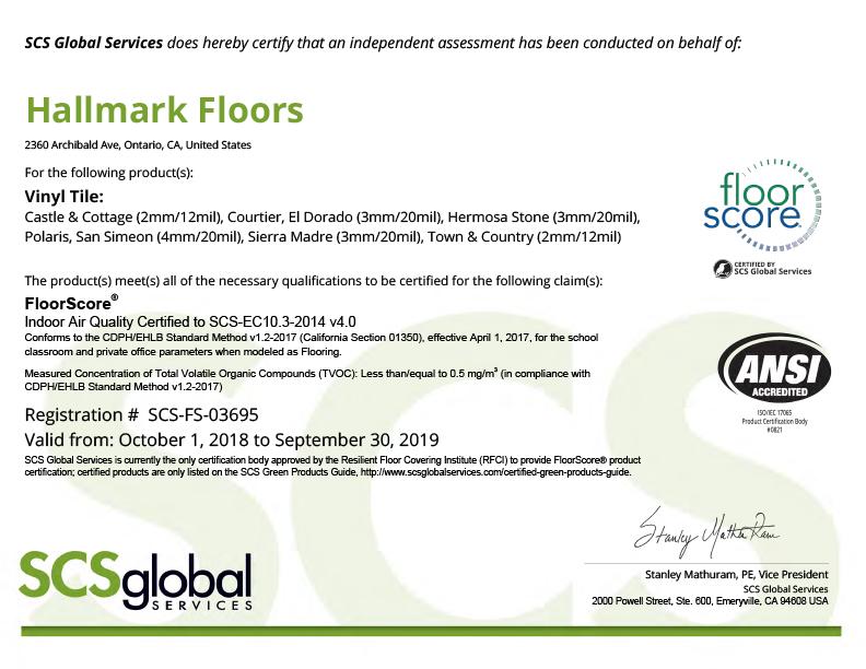 FloorScore SCS FS 03695 Certification for Hallmark Floors
