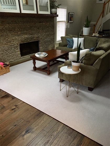 Monterey Casita Hickory living room Installation by Carpet Depot Spotlight Dealer for Hallmark Floors