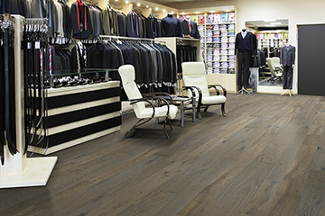 The photo is of Earl Grey, Oak, from the Organic 567 Commercial hardwood flooring by Hallmark Floors