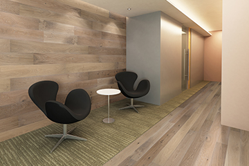 The photo is of Seashell, Oak, from the Ventura Commercial hardwood flooring by Hallmark Floors