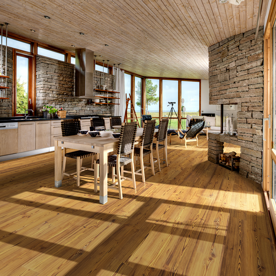 Amber Pine Hardwood Floors from the True Hardwood Flooring Collection by Hallmark Floors. True Hardwood Flooring where the color goes throughout the surface layer without using stains or dyes.