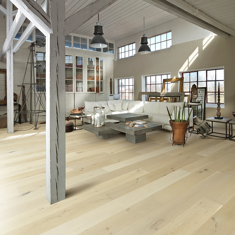 Ginger Lily Oak Hardwood Floors from the True Hardwood Flooring Collection by Hallmark Floors. True Hardwood Flooring where the color goes throughout the surface layer without using stains or dyes.