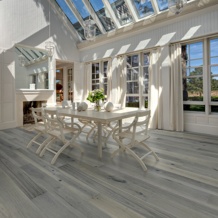Jasmine Hickory Hardwood Floors from the True Hardwood Flooring Collection by Hallmark Floors. True Hardwood Flooring where the color goes throughout the surface layer without using stains or dyes.