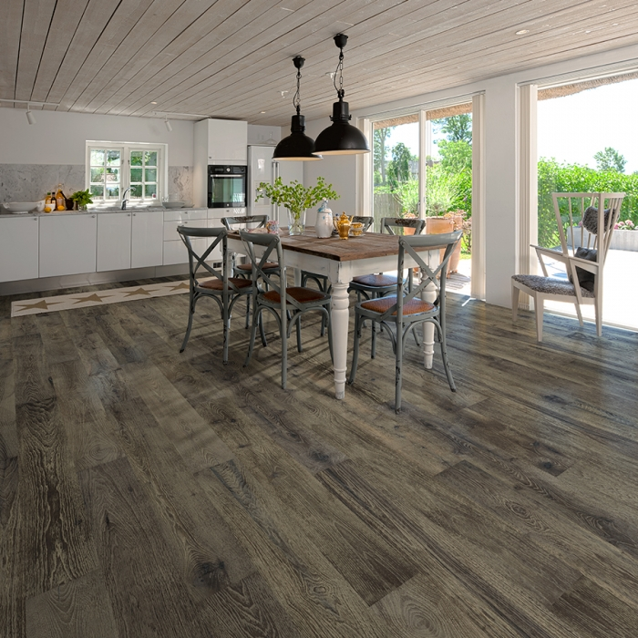 Magnolia Hickory Hardwood Floors from the True Hardwood Flooring Collection by Hallmark Floors. True Hardwood Flooring where the color goes throughout the surface layer without using stains or dyes.