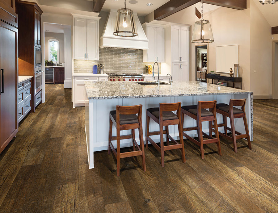 Rigid flooring verses vinyl floors starts with understanding the pros and cons of each type of flooring. Rigid Click Flooring. Duchess, Hickory, Waterproof Rigid floors from Courtier waterproof flooring collection by Hallmark Floors. Truly beautiful reclaimed looking waterproof floors