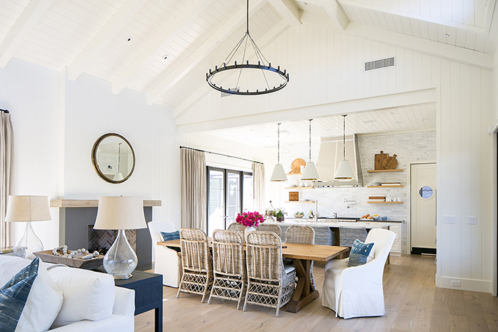 Modern Desert Ranch Great Room with Catheral Archecture by NoMad Design Studio designed. Woo floors by Hallmark Floors